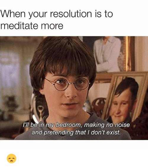 Funny, Resolution, and Noise: When your resolution is to  meditate more  I'll be in my bedroom, making no noise  and pretending that I don't exist. 😞