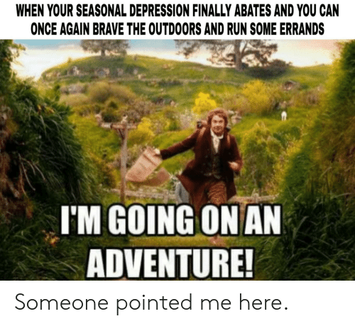 Run, Brave, and Depression: WHEN YOUR SEASONAL DEPRESSION FINALLY ABATES AND YOU CAN  ONCE AGAIN BRAVE THE OUTDOORS AND RUN SOME ERRANDS  I'M GOING ONAN  ADVENTURE Someone pointed me here.