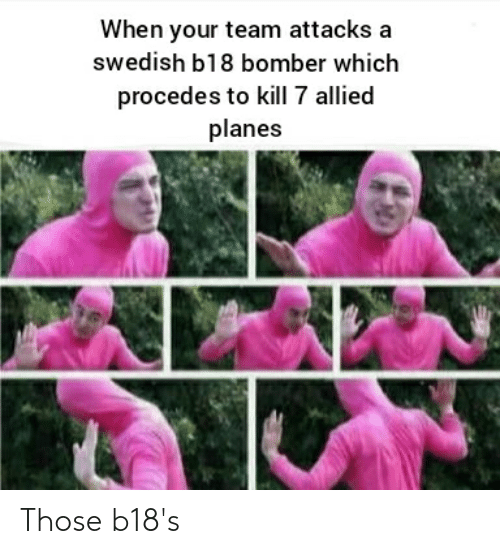 Swedish, War Thunder, and Planes: When your team attacks a  swedish b18 bomber which  procedes to kill 7 allied  planes Those b18's
