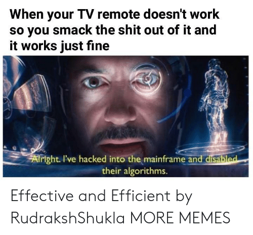 Dank, Memes, and Shit: When your TV remote doesn't work  so you smack the shit out of it and  it works just fine  xf  right I've hacked into the mainframe and disabl  their algorithms.  ed Effective and Efficient by RudrakshShukla MORE MEMES
