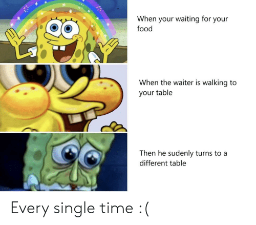 Food, Time, and Waiting...: When your waiting for your  food  When the waiter is walking to  your table  Then he sudenly turns to a  different table Every single time :(