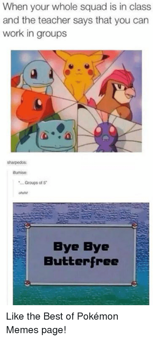 Funny, Memes, and Pokemon: When your whole squad is in class  and the teacher says that you can  work in groups  sharpedos  lumise  ..Groups of 5  ohshit  Bye Bye  Butterfree Like the Best of Pokémon Memes page!