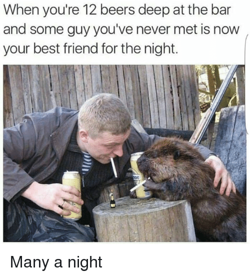 Best Friend, Best, and Never: When you're 12 beers deep at the bar  and some guy you've never met is now  your best friend for the night. Many a night