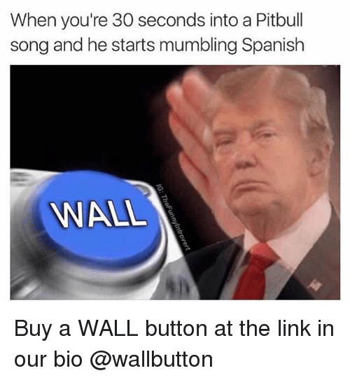 Spanish, Pitbull, and Link: When you're 30 seconds into a Pitbull  song and he starts mumbling Spanish  WALL Buy a WALL button at the link in our bio @wallbutton