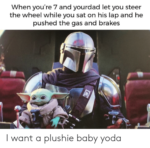 Yoda, Baby, and Sat: When you're 7 and yourdad let you steer  the wheel while you sat on his lap and he  pushed the gas and brakes I want a plushie baby yoda