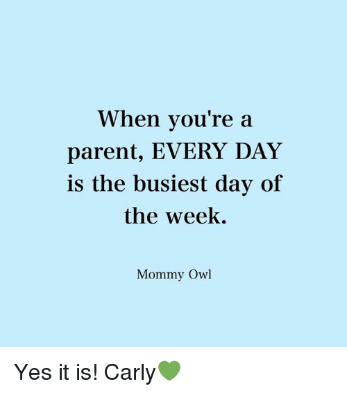 Memes, 🤖, and Owl: When you're a  parent, EVERY DAY  is the busiest day of  the week.  Mommy Owl Yes it is! Carly💚
