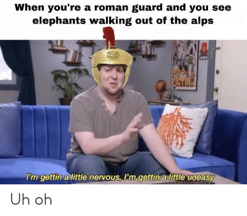Dank Memes, Roman, and Elephants: When you're a roman guard and you see  elephants walking out of the alps  'm gettin a little nervous, Pm gettin a little uneasy Uh oh