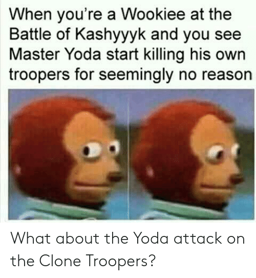 Yoda, Reason, and Own: When you're a Wookiee at the  Battle of Kashyyyk and you see  Master Yoda start killing his own  troopers for seemingly no reason What about the Yoda attack on the Clone Troopers?