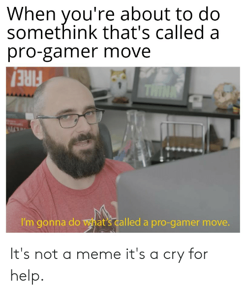 Meme, Reddit, and Help: When you're about to do  somethink that's called a  pro-gamer move  THINK  I'm gonna do what's called a pro-gamer move. It's not a meme it's a cry for help.