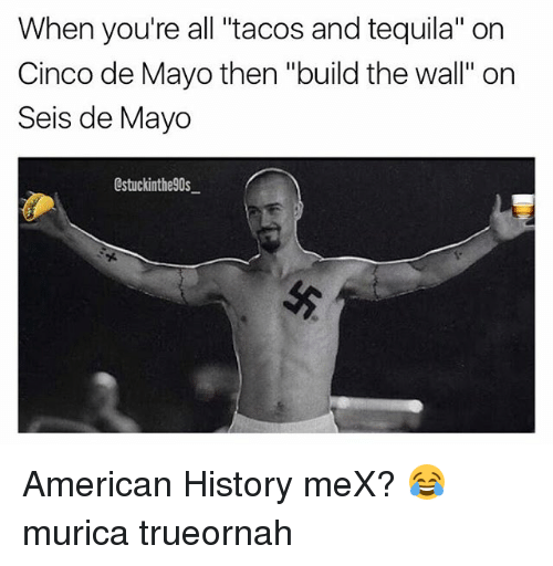 when youre all tacos and tequila on cinco de mayo 21199822 ✅ 25 best memes about american history american history memes,American History Memes