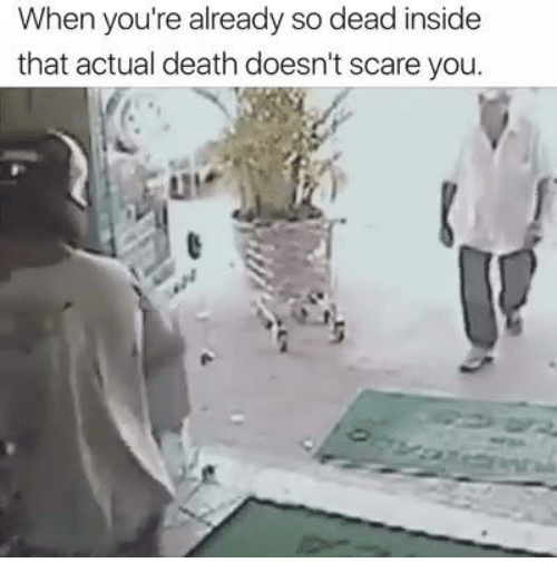 Memes, Scare, and Death: When you're already so dead inside  that actual death doesn't scare you.