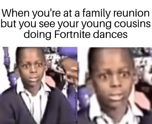 Family, Cousins, and Reunion: When you're at a family reunion  but you see your young cousins  doing Fortnite dances