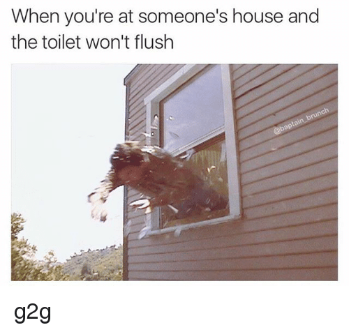 When You\'re at Someone\'s House and the Toilet Won\'t Flush G2g | G2g ...