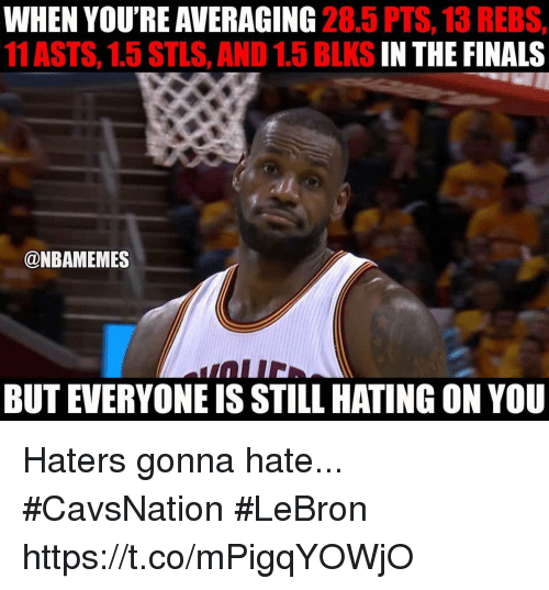 Finals, Lebron, and You: WHEN YOU'RE AVERAGING  28.5 PTS, 13 REBS,  11 ASTS, 1.5 STLS, AND 1.5 BLKS  IN THE FINALS  @NBAMEMES  BUT EVERYONEIS STILL HATING ON YOU Haters gonna hate... #CavsNation #LeBron https://t.co/mPigqYOWjO