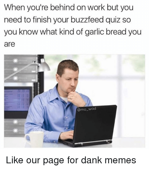 Dank, Memes, and Work: When you're behind on work but you  need to finish your buzzfeed quiz so  you know what kind of garlic bread you  are  Omo_wad Like our page for dank memes