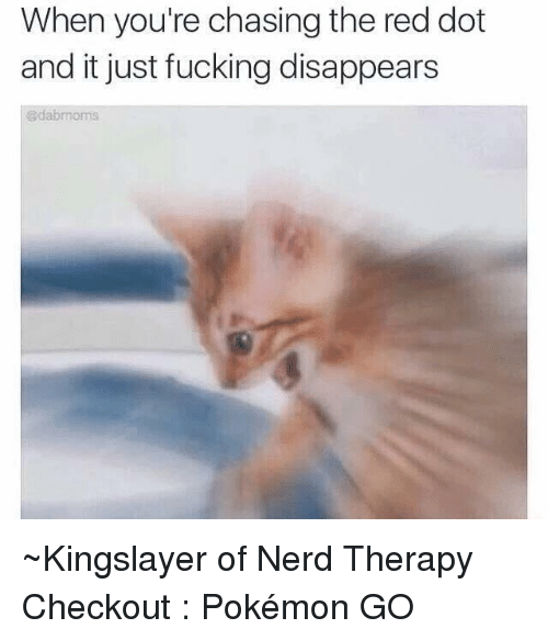 Dank, Nerd, and Pokemon: When you're chasing the red dot  and it just fucking disappears ~Kingslayer of Nerd Therapy  Checkout : Pokémon GO