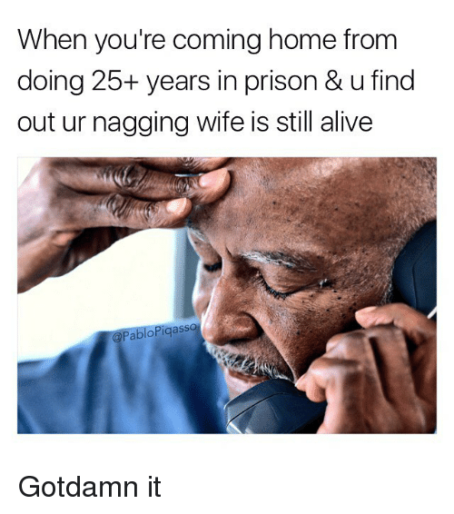 Alive, Memes, and Prison: When you're coming home from  doing 25+ years in prison & ufind  out ur nagging wife is still alive  Pablo Pigasso Gotdamn it