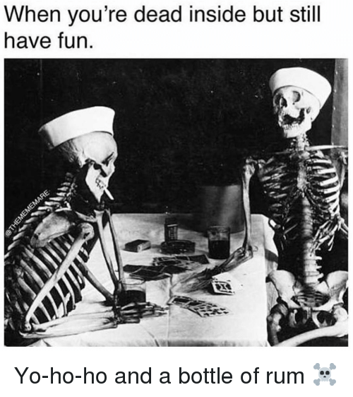 Memes, Yo, and 🤖: When you're dead inside but still  have fun Yo-ho-ho and a bottle of rum ☠️