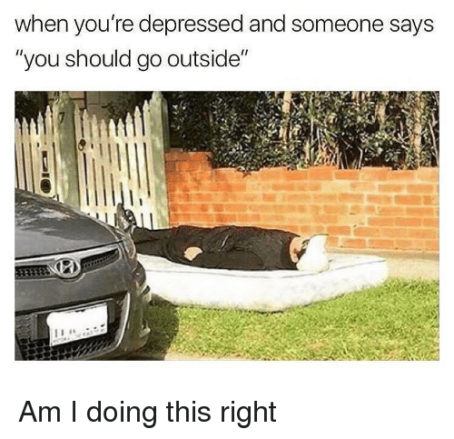 """Memes, Am I Doing This Right, and 🤖: when you're depressed and someone says  """"you should go outside"""" Am I doing this right"""