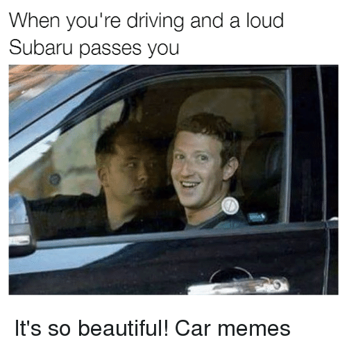 Beautiful, Cars, and Driving: When you're driving and a loud  Subaru passes you It's so beautiful! Car memes
