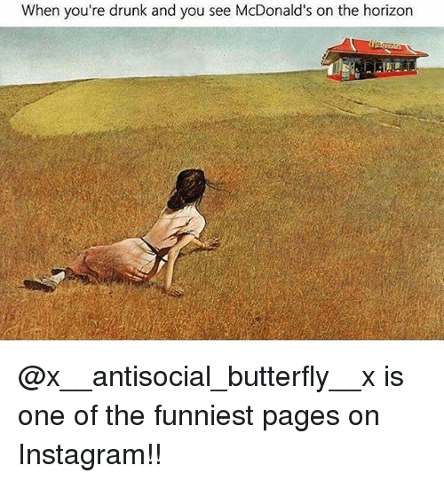 Drunk, Instagram, and Memes: When you're drunk and you see McDonald  's on the horizon @x__antisocial_butterfly__x is one of the funniest pages on Instagram!!
