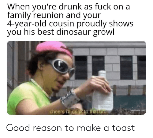 Dinosaur, Drunk, and Family: When you're drunk as fuck on a  family reunion and your  4-year-old cousin proudly shows  you his best dinosaur growl  cheers i'll drink to that bro Good reason to make a toast