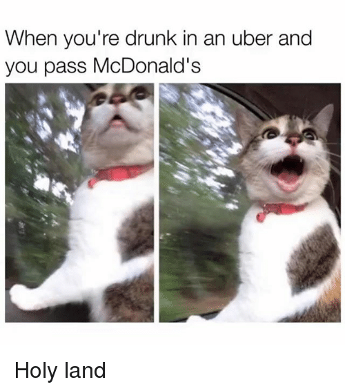 Drunk, McDonalds, and Memes: When you're drunk in an uber and  you pass McDonald's Holy land