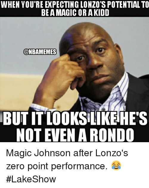 Magic Johnson, Nba, and Zero: WHEN YOU'RE EXPECTING LONZO'S POTENTIAL TO  BE A MAGIC OR AKIDD  @NBAMEMES  BUT IT LO0KS LIKEHE'S  NOT EVEN A RONDO Magic Johnson after Lonzo's zero point performance. 😂 #LakeShow