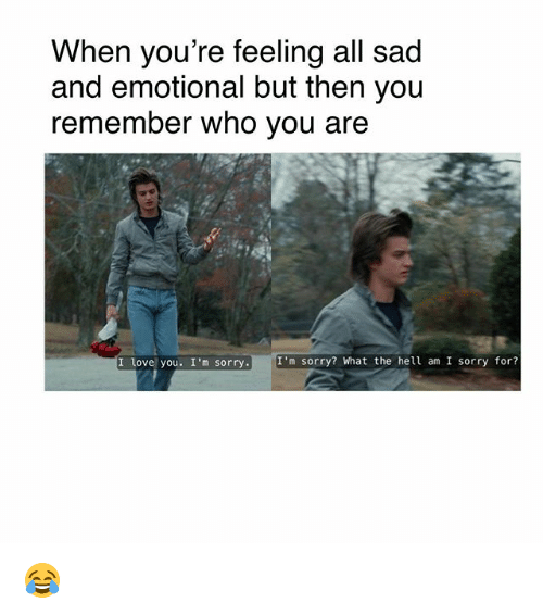 Love, Memes, and Sorry: When you're feeling all sad  and emotional but then you  remember who vou are  I love you. I'm sorry.  I'm sorry? What the hell am I sorry for? 😂