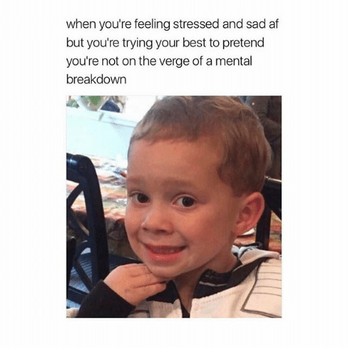 when youre feeling stressed and sad af but youre trying 18072484 ✅ 25 best memes about mental breakdown mental breakdown memes