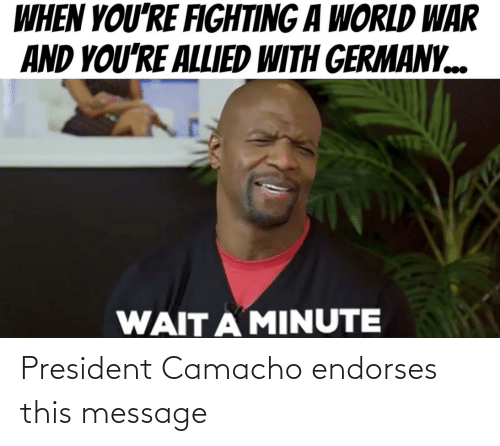 Reddit, Germany, and World: WHEN YOU'RE FIGHTING A WORLD WAR  AND YOU'RE ALLIED WITH GERMANY.  WAIT A MINUTE President Camacho endorses this message