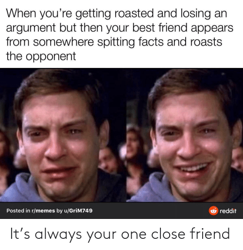 Best Friend, Facts, and Memes: When you're getting roasted and losing an  argument but then your best friend appears  from somewhere spitting facts and roasts  the opponent  Posted in r/memes by u/GriM749  reddit It's always your one close friend