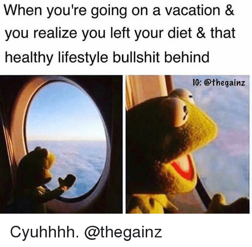 Gym, Lifestyle, and Vacation: When you're going on a vacation &  you realize you left your diet & that  healthy lifestyle bullshit behind  1: @thegainz Cyuhhhh. @thegainz