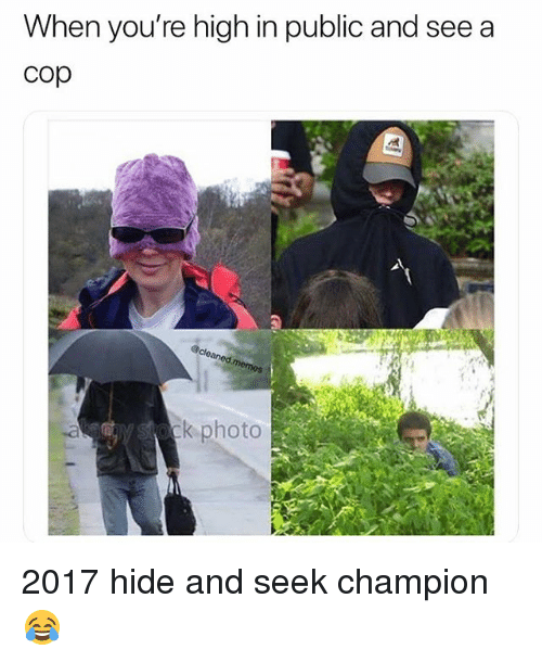 Weed, Marijuana, and Champion: When you're high in public and see a  cop  k photo 2017 hide and seek champion 😂