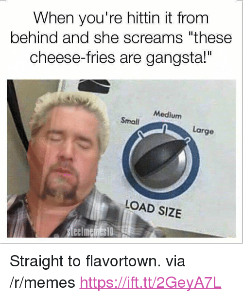 """Gangsta, Memes, and Medium: When you're hittin it from  behind and she screams """"these  cheese-fries are gangsta!""""  Medium  Small  Large  LOAD SIZE <p>Straight to flavortown. via /r/memes <a href=""""https://ift.tt/2GeyA7L"""">https://ift.tt/2GeyA7L</a></p>"""