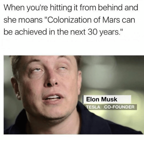 "Mars, Dank Memes, and Tesla: When you're hitting it from behind and  she moans ""Colonization of Mars can  be achieved in the next 30 years.""  Elon Musk  TESLA CO-FOUNDER"