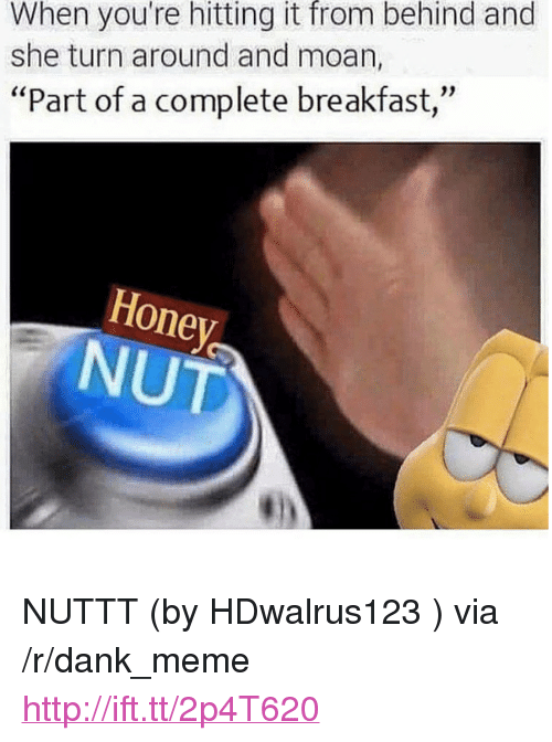 "Dank, Meme, and Breakfast: When you're hitting it from behind and  she turn around and moan,  ""Part of a complete breakfast,  Honey  NUT <p>NUTTT (by HDwalrus123 ) via /r/dank_meme <a href=""http://ift.tt/2p4T620"">http://ift.tt/2p4T620</a></p>"