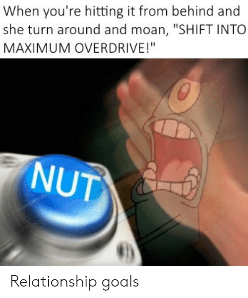 "Goals, Relationship Goals, and She: When you're hitting it from behind and  she turn around and moan, ""SHIFT INTO  MAXIMUM OVERDRIVE!""  NUT Relationship goals"