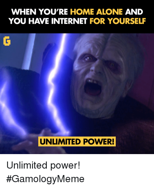 Being Alone, Home Alone, and Internet: WHEN YOU'RE HOME ALONE  AND  YOU HAVE INTERNET FOR YOURSELF  UNLIMITED POWER! Unlimited power! #GamologyMeme
