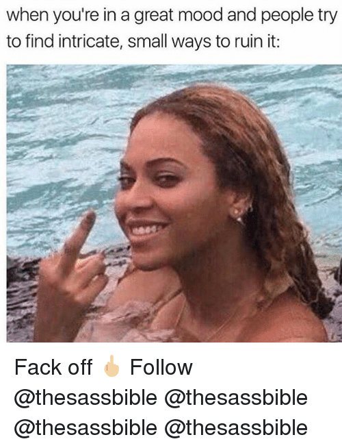 Memes, Mood, and Fack: when you're in a great mood and people try  to find intricate, small ways to ruin it: Fack off 🖕🏼 Follow @thesassbible @thesassbible @thesassbible @thesassbible