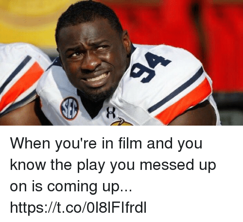 Film, The Play, and Play: When you're in film and you know the play you messed up on is coming up... https://t.co/0l8lFIfrdl