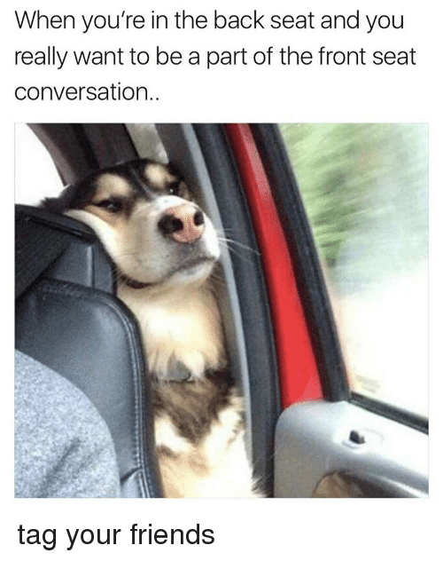 Friends, Memes, and Back: When you're in the back seat and you  really want to be a part of the front seat  conversation. tag your friends