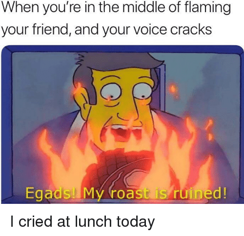 Roast, The Middle, and Today: When you're in the middle of flaming  your friend, and your voice cracks  Egads My roast is ruined! I cried at lunch today