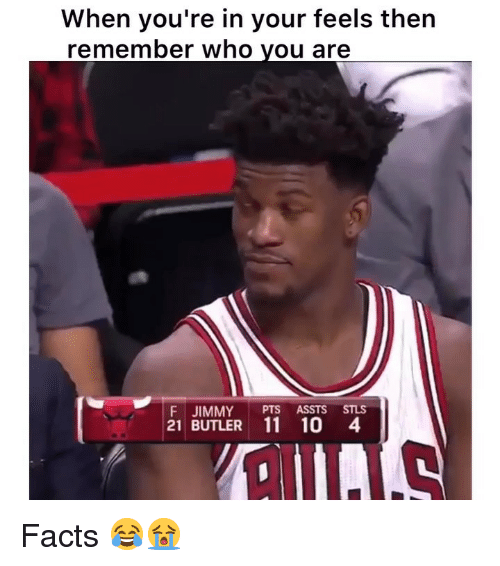 Facts, Funny, and Who: When you're in your feels then  remember who vou are  F JIMMY PTS ASSTS STLS  21 BUTLER 11 10 4 Facts 😂😭