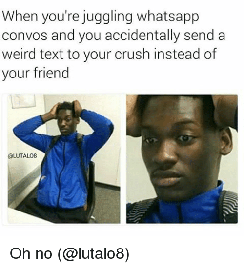 Crush, Memes, and Weird: When you're juggling whatsapp  convos and you accidentally send a  weird text to your crush instead of  your friend  @LUTALO8 Oh no (@lutalo8)