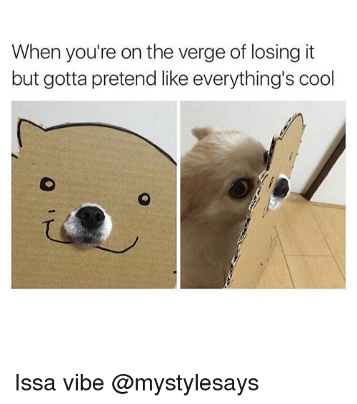 Cool, Girl Memes, and On the Verge: When you're on the verge of losing it  but gotta pretend like everything's cool Issa vibe @mystylesays