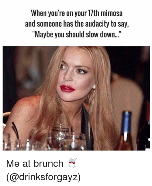 "Memes, Audacity, and 🤖: When you're on your 17th mimosa  and someone has the audacity to say,  ""Maybe you should slow down.."" Me at brunch 🥂 (@drinksforgayz)"