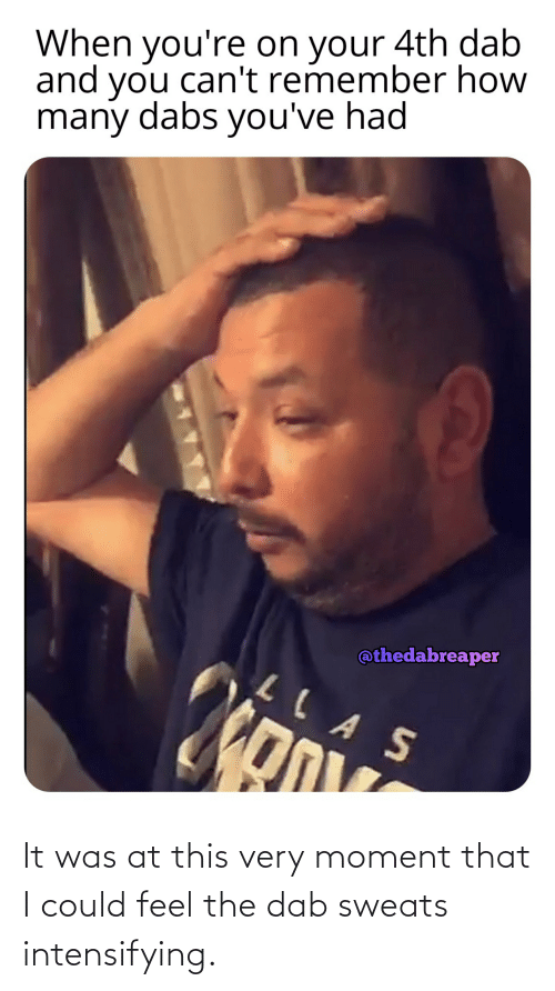 The Dab, Weed, and Dab: When you're on your 4th dab  and you can't remember how  many dabs you've had  @thedabreaper  LLAS It was at this very moment that I could feel the dab sweats intensifying.