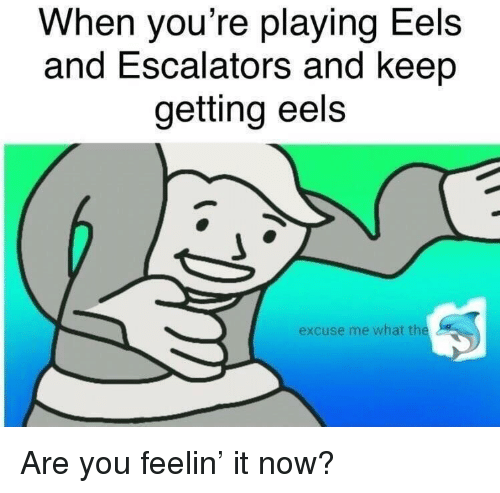 When You Re Playing Eels And Escalators And Keep Getting Eels Excuse Me What The Dank Meme On Me Me