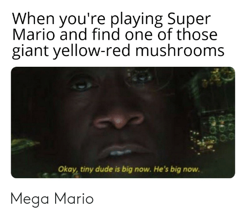 Dude, Reddit, and Super Mario: When you're playing Super  Mario and find one of those  giant yellow-red mushrooms  Okay, tiny dude is big now. He's big now. Mega Mario
